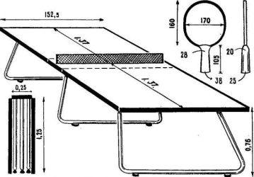 Параметры стола для пинг понга