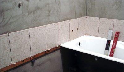 Как разметить первый ряд плитки над ванной?